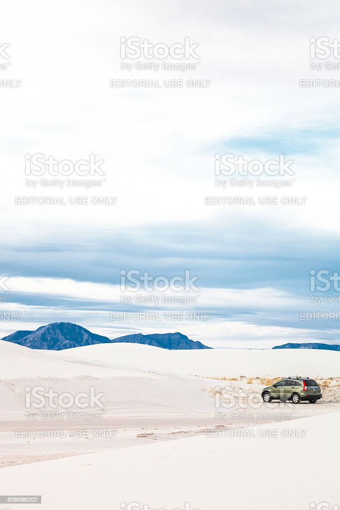 Honda CRV in desert. White Sands, New Mexico. stock photo