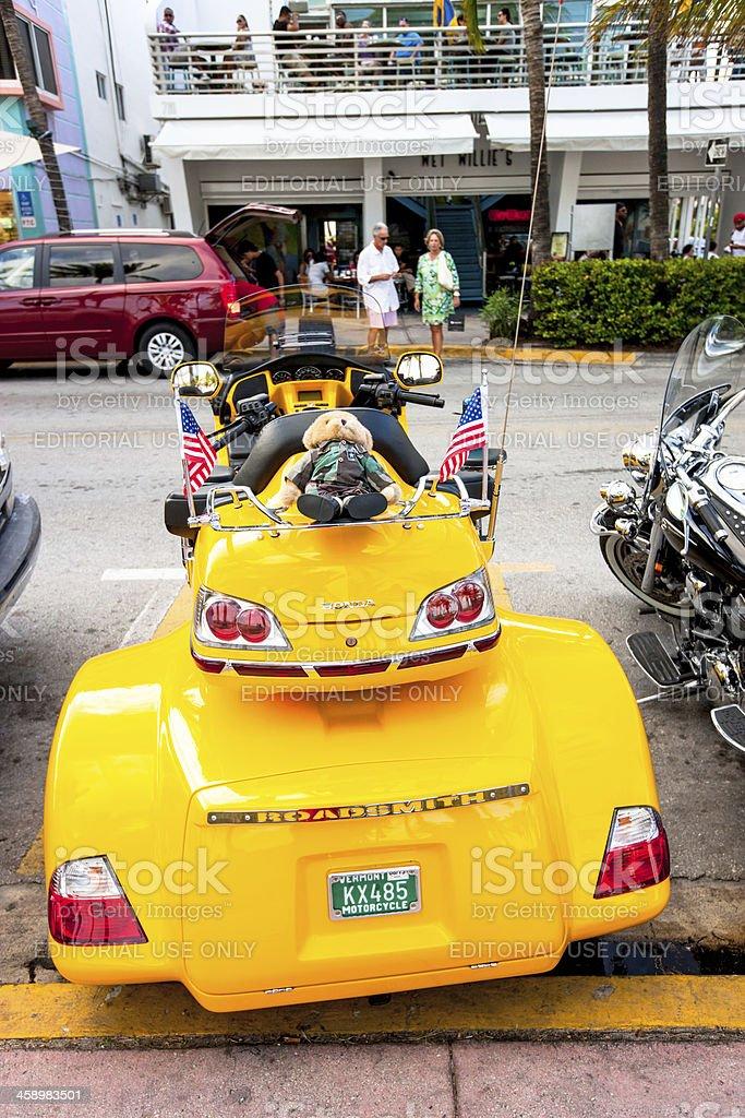 Honda Roadsmith Motorcycle parked at Ocean Drive, Miami Beach royalty-free stock photo