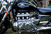 Honda Valkyrie motorcycle with flat-six engine parked at rally