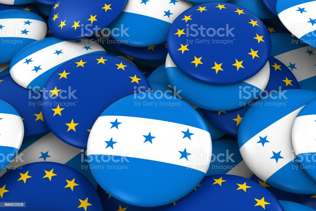 Honduras and Europe Badges Background - Pile of Honduran and European Flag Buttons 3D Illustration stock photo