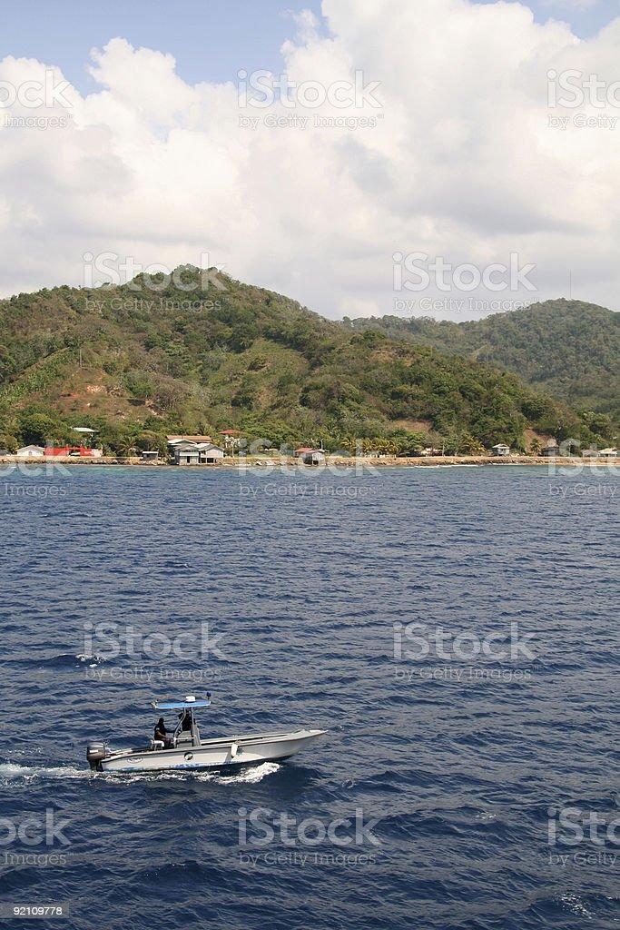 Honduras Coastline with Boat stock photo