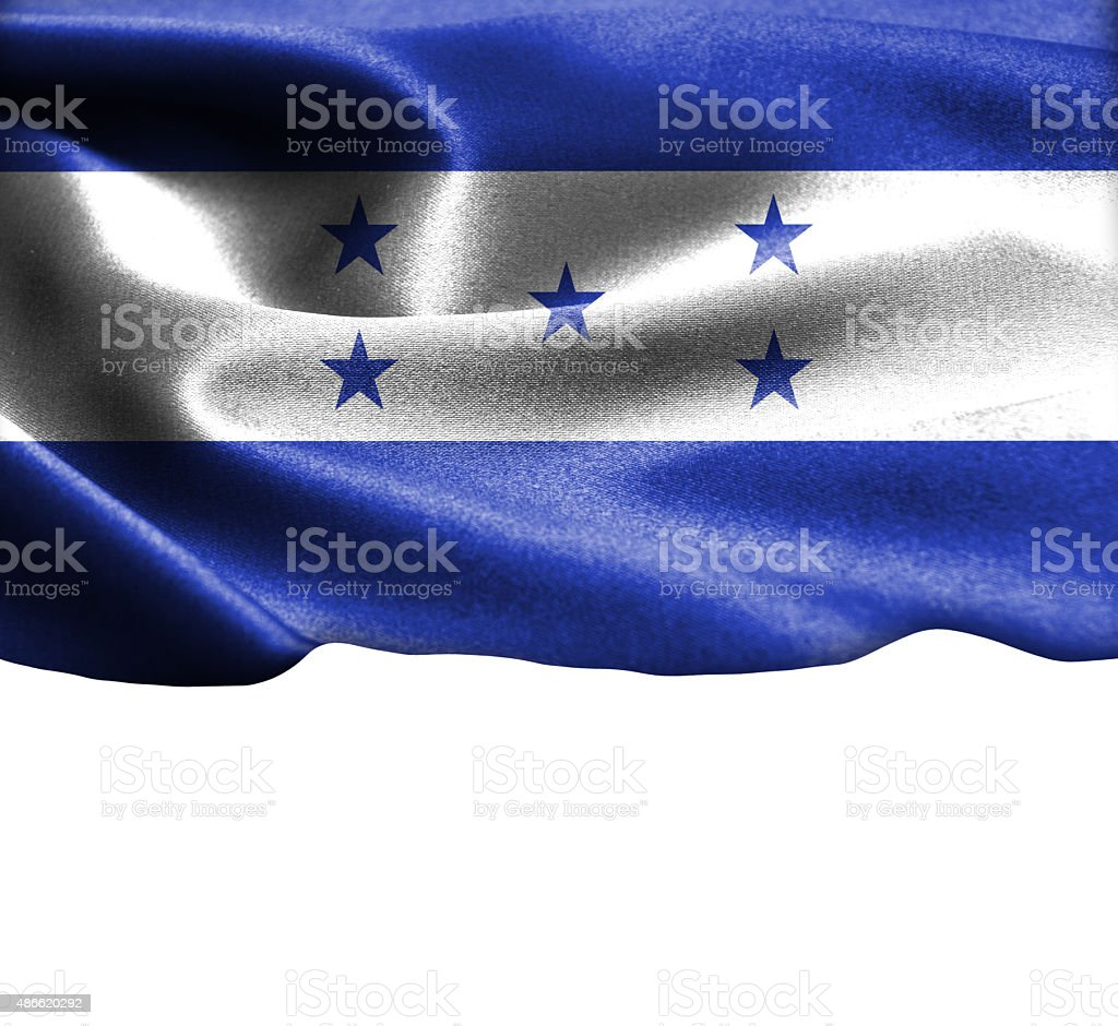 Honduras flag on smooth silk texture Space for Text stock photo