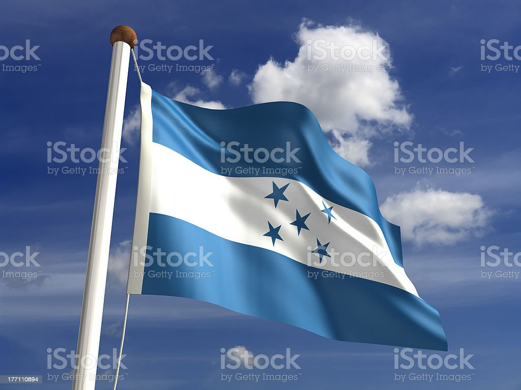 Honduras flag (with clipping path) stock photo