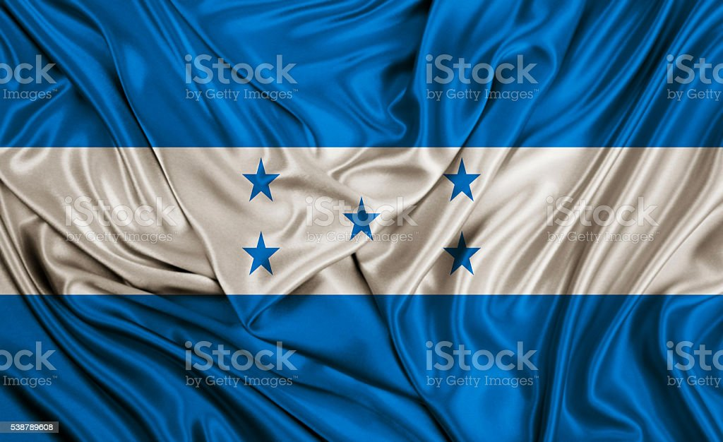 Honduras flag - silk texture stock photo