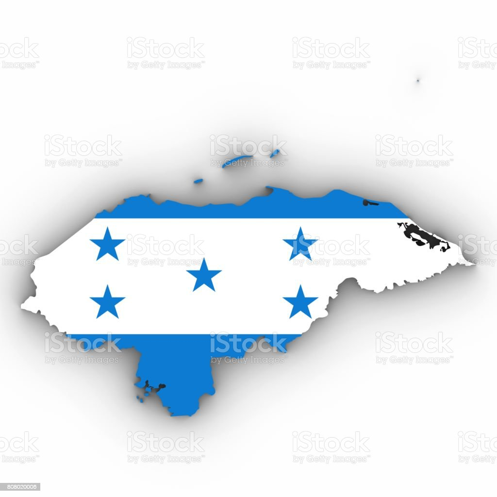 Honduras Map Outline with Honduran Flag on White with Shadows 3D Illustration stock photo