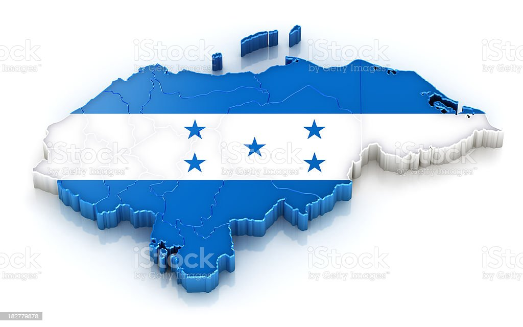 Honduras map with flag royalty-free stock photo