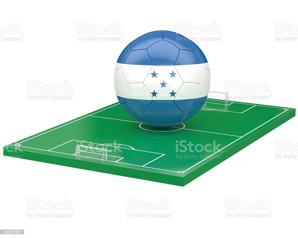 Honduras soccer ball over soccer field stock photo