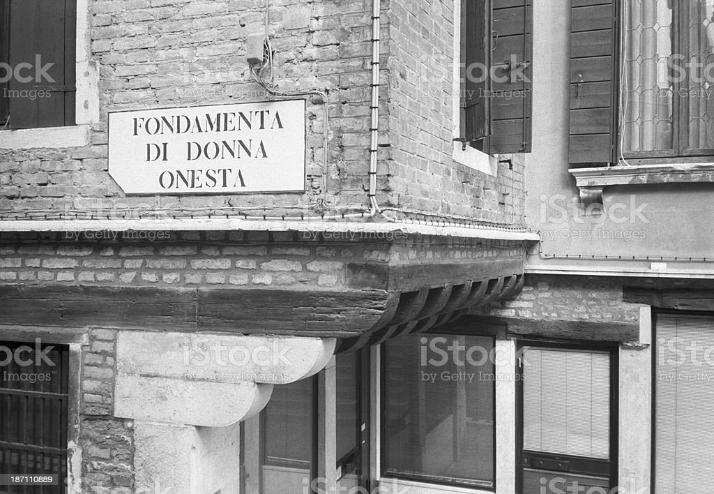 Honest Woman's street, Venice - nameplate with funny name stock photo
