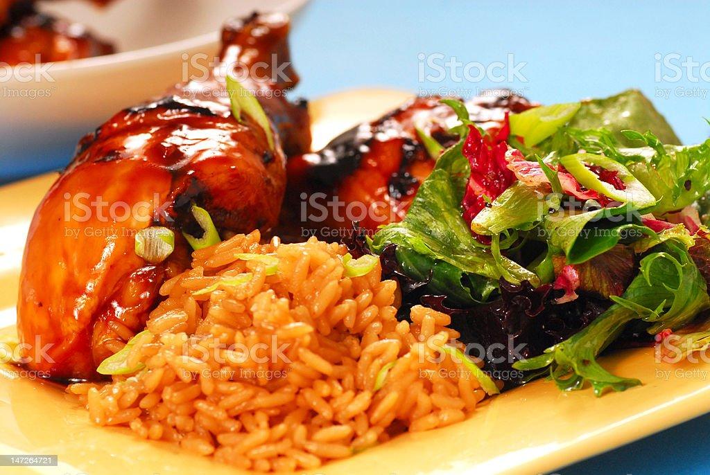 Honey and balsamic glazed asian chicken royalty-free stock photo