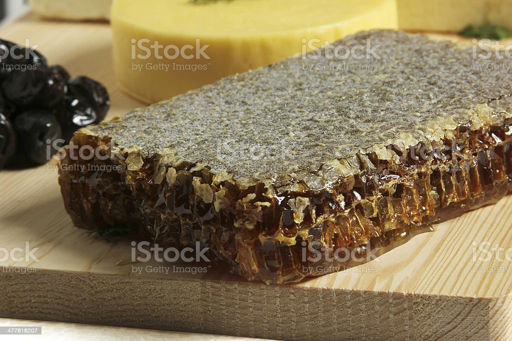 Honey and cheese royalty-free stock photo