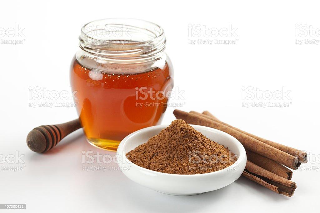 Honey and cinnamon stock photo