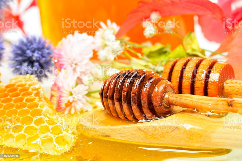 honey and flowers royalty-free stock photo