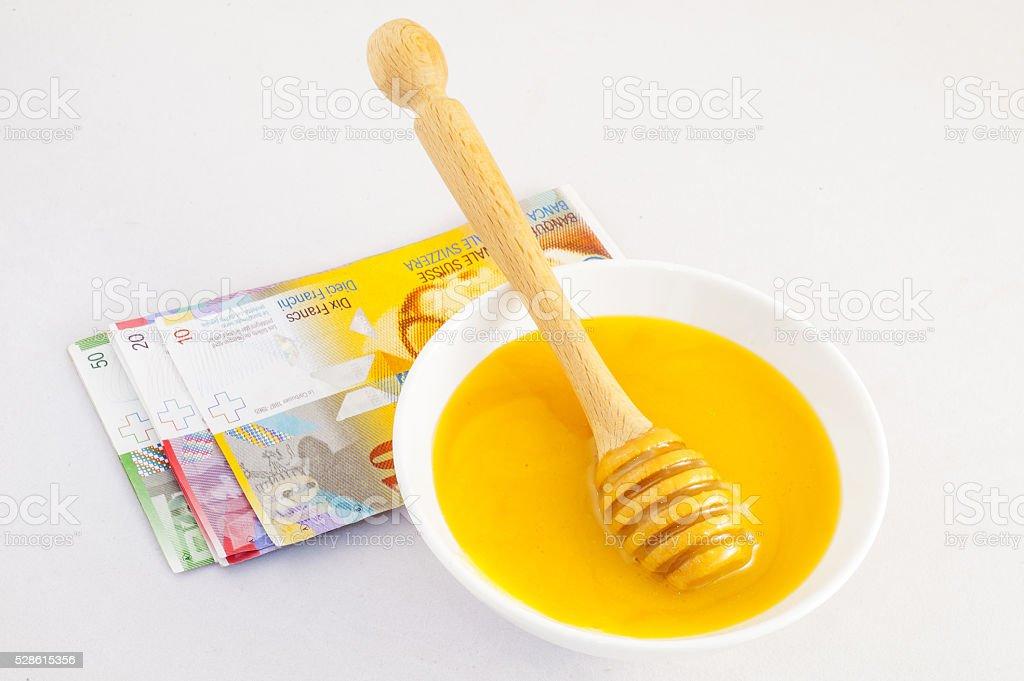 honey and money Swiss Franc CHF stock photo
