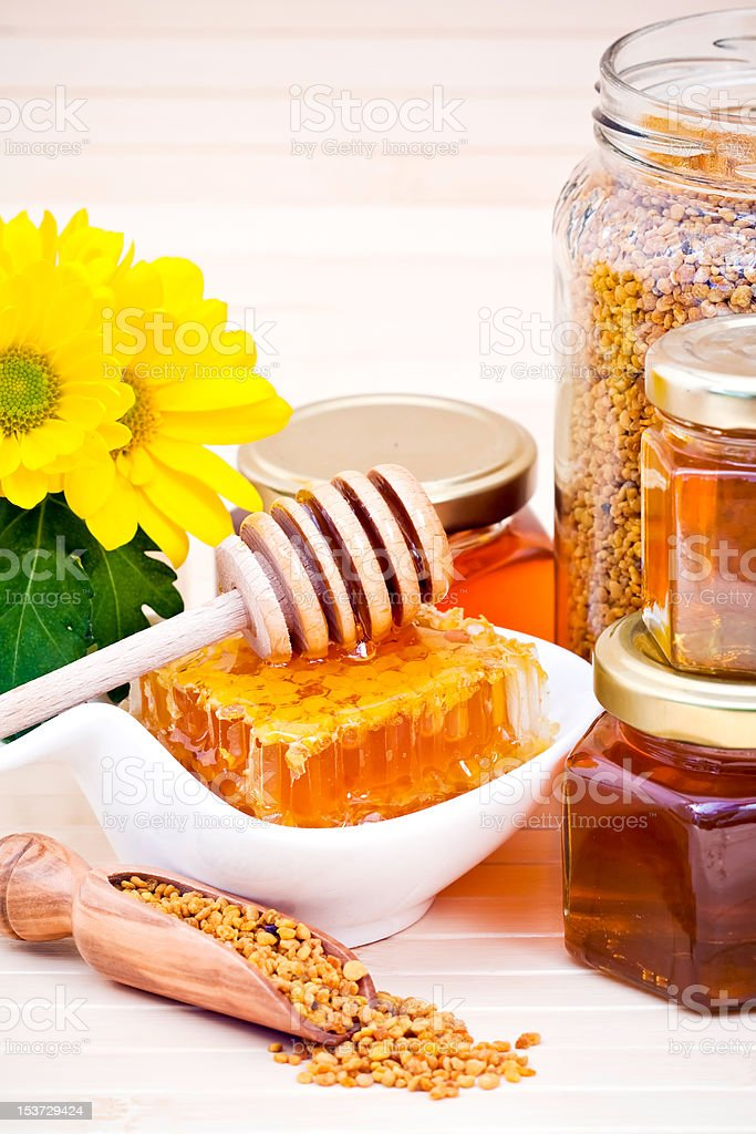 Honey and pollen royalty-free stock photo