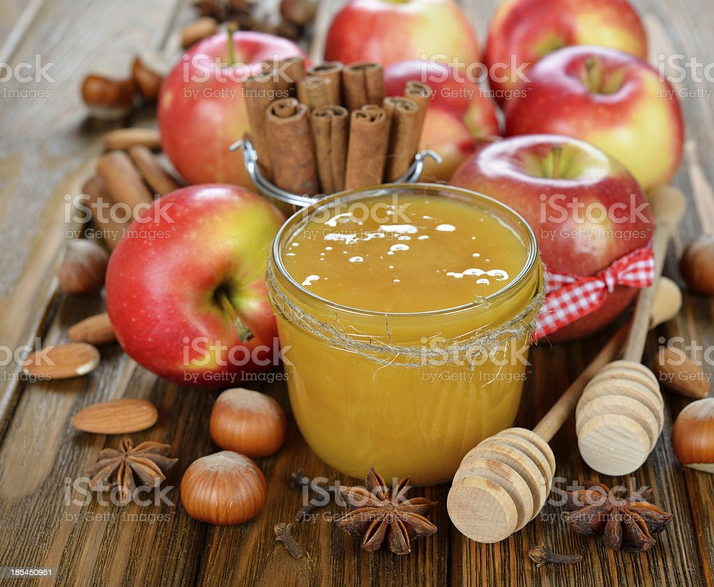 Honey, apples and nuts royalty-free stock photo