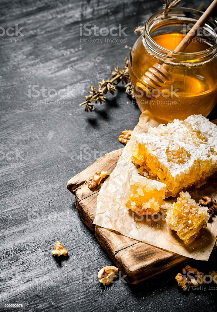 Honey background. Natural  with herbs. stock photo