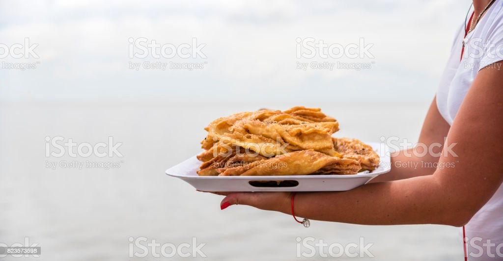 Honey Baklava on a tray, summer business on the beach, Ukraine stock photo