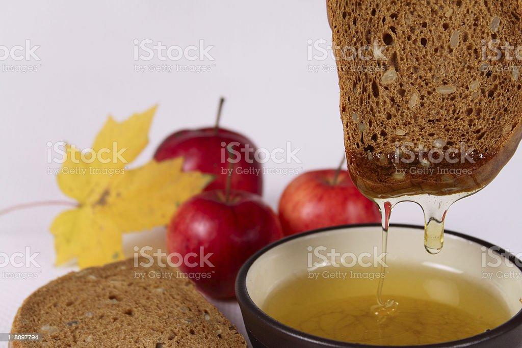 Miód, czarne i czerwone jabłka Chleb zbiór zdjęć royalty-free