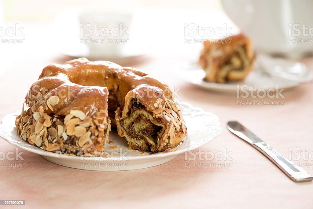 Honey cake with almonds stock photo