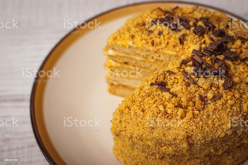 Honey cake  with chocolate chips on the ceramic plate close-up stock photo