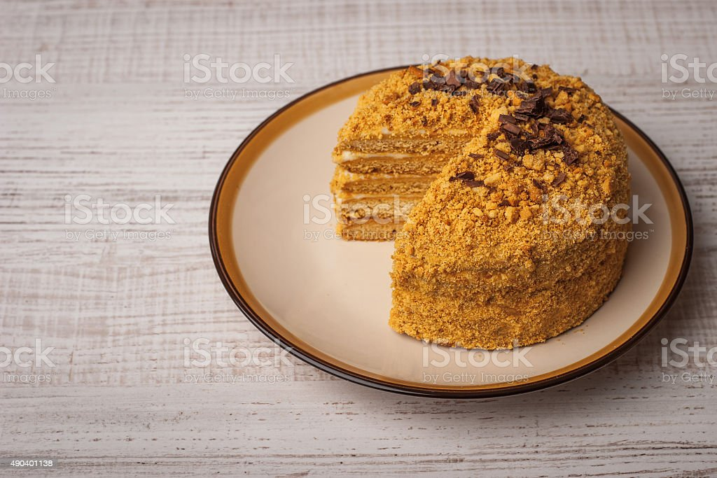 Honey cake  with chocolate chips on the ceramic plate horizontal stock photo