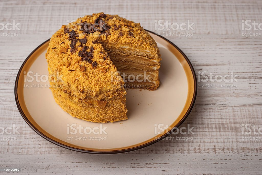 Honey cake  with chocolate chips on the ceramic plate stock photo