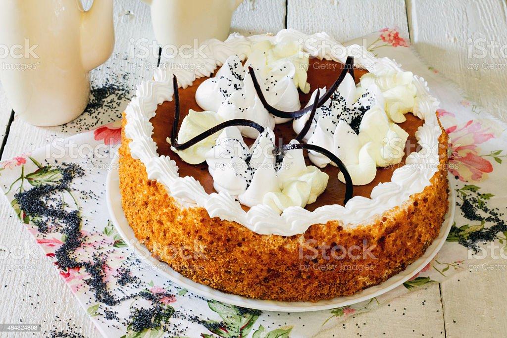 Honey cake with whipped cream and caramel. stock photo