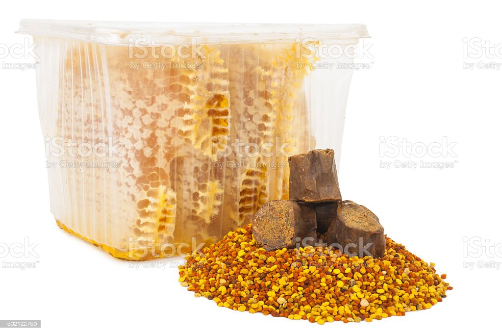Honey comb and pollen with propolis stock photo