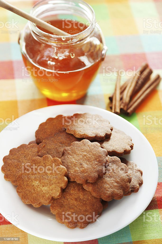 Honey cookies with cinnamon royalty-free stock photo