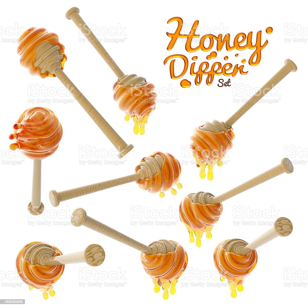 Honey dripping from a wooden honey dipper set isolated on stock photo