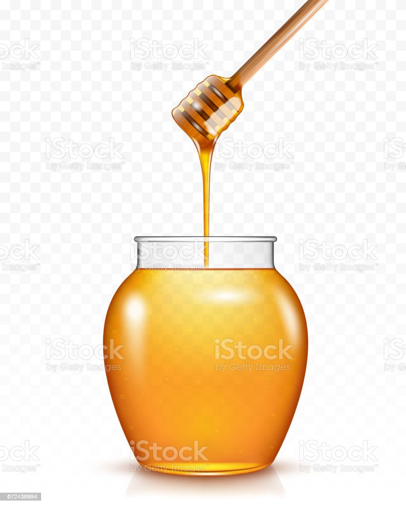 Honey flowing into glass jar stock photo