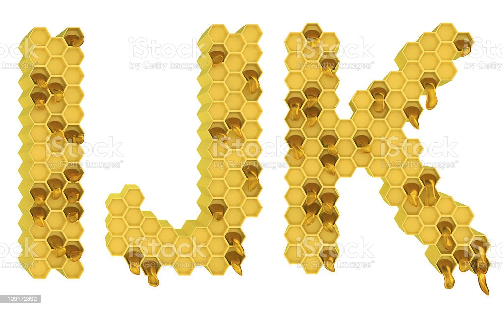 Honey font I J and K letters isolated royalty-free stock photo