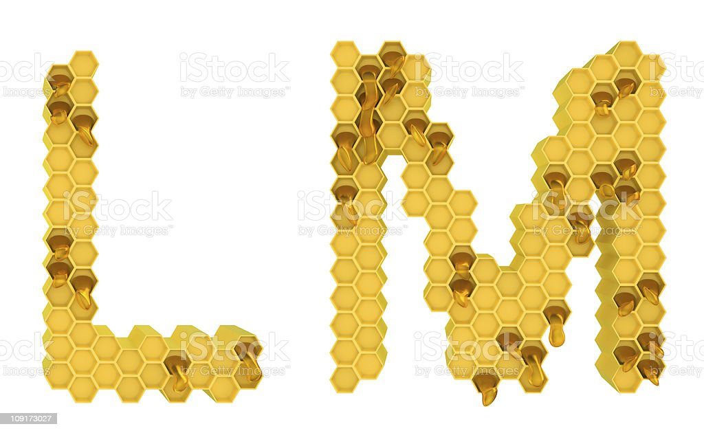Honey font L and M letters isolated royalty-free stock photo
