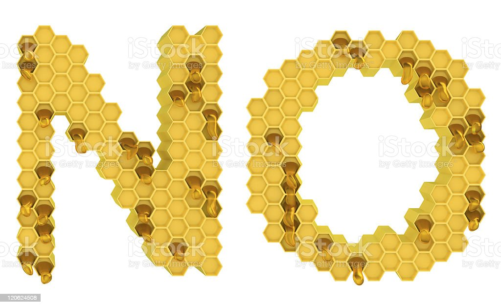 Honey font N and O letters isolated royalty-free stock photo