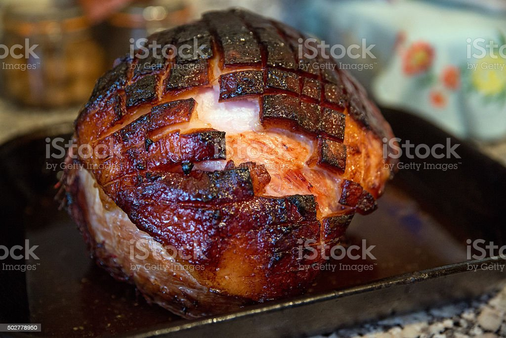 Honey glazed gammon stock photo
