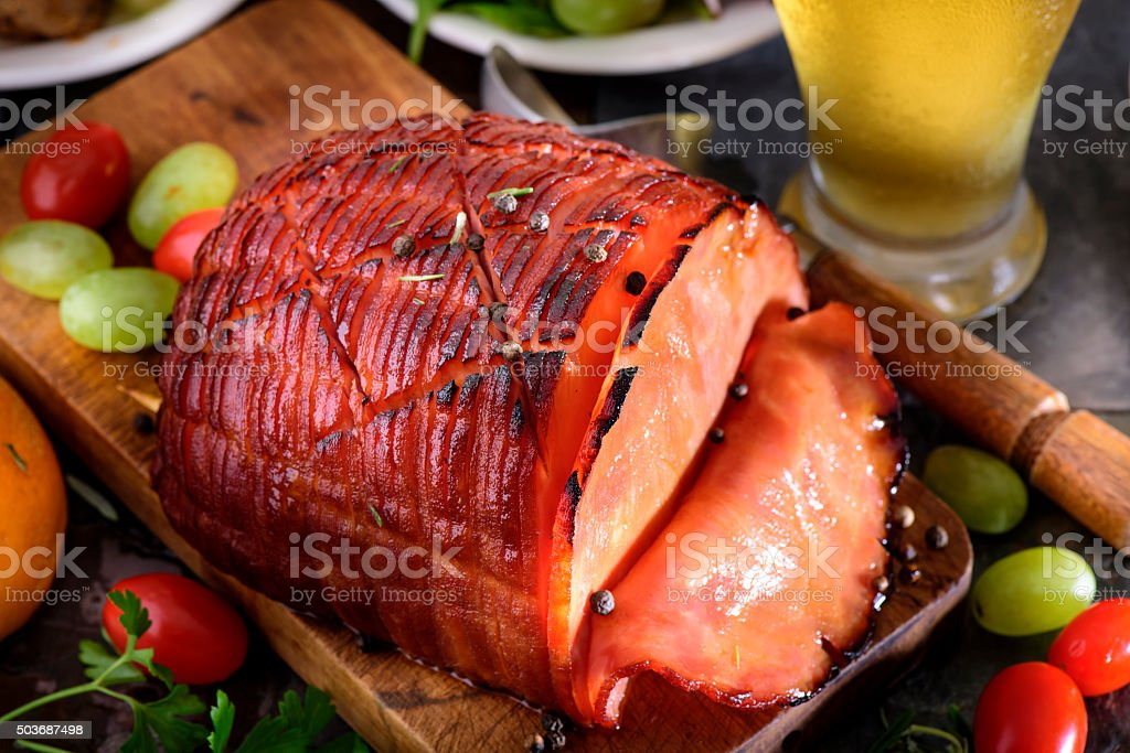 Honey Glazed Ham stock photo