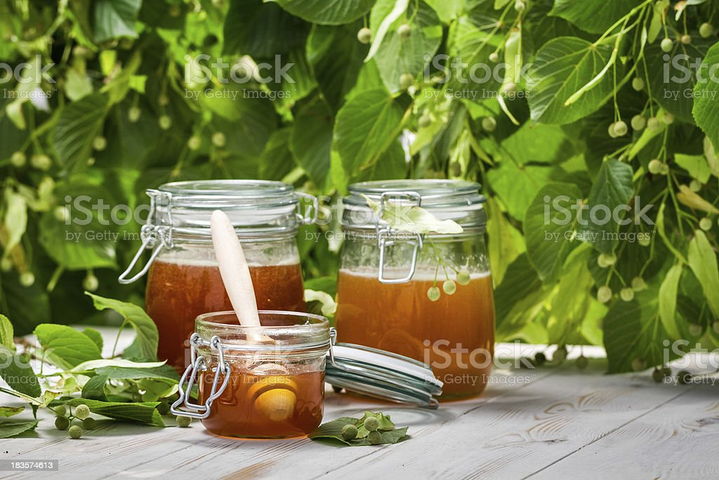 Honey in a jar on the background of linden trees royalty-free stock photo