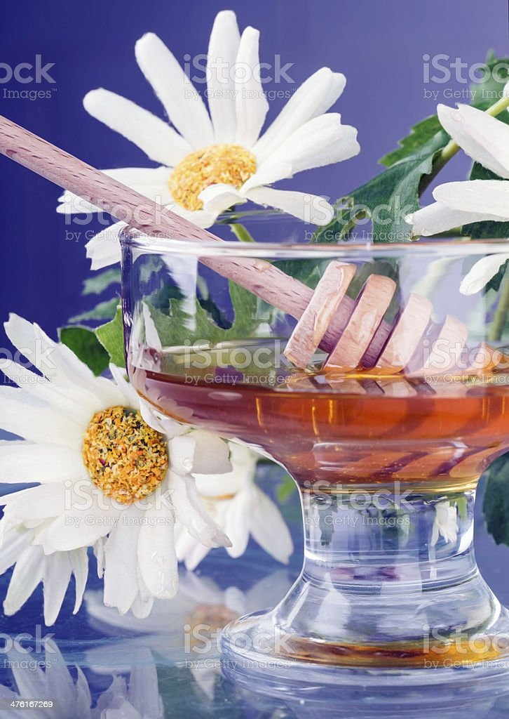 honey in glass jam dish royalty-free stock photo