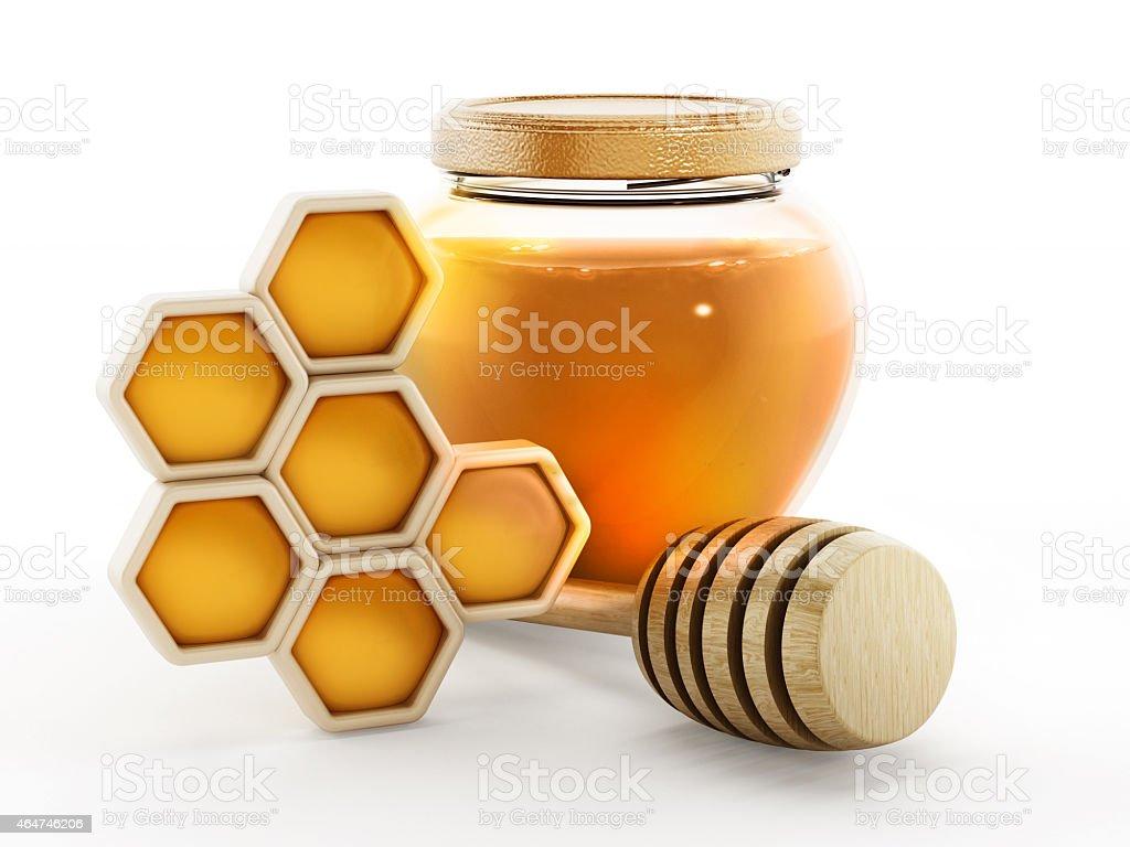 Honey jar, honeycomb and stick stock photo