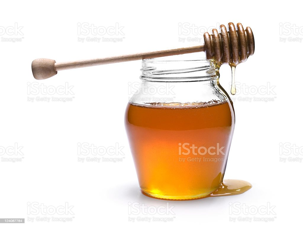 Honey jar stock photo