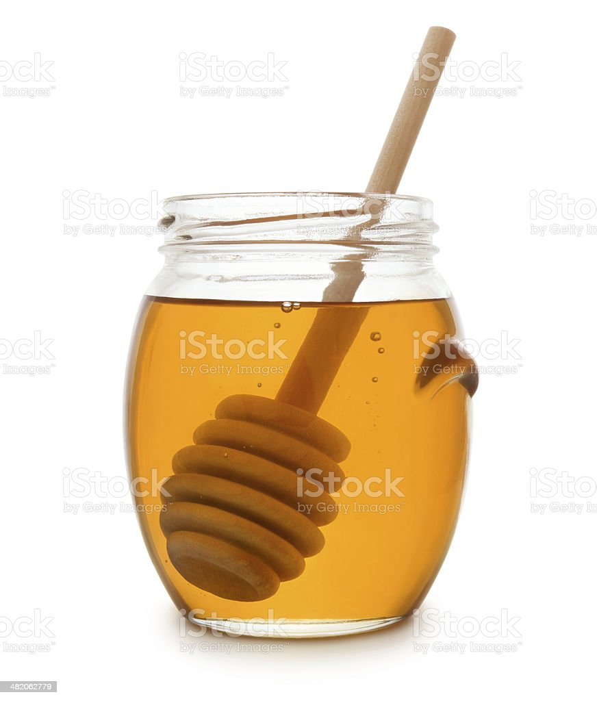 Honey jar with clipping path stock photo
