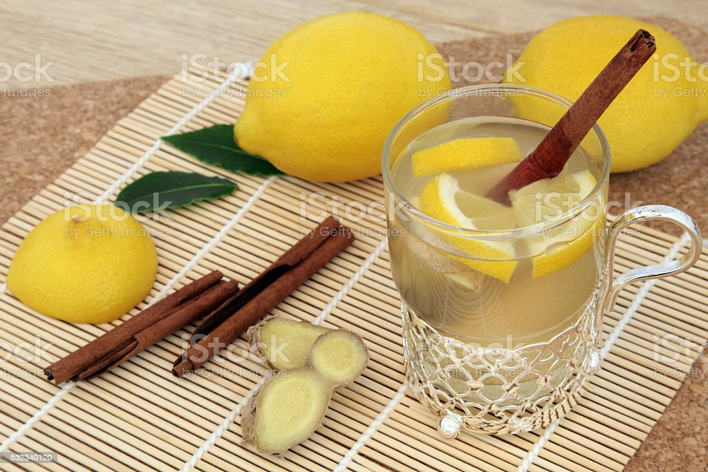 Honey Lemon and Spice Drink stock photo