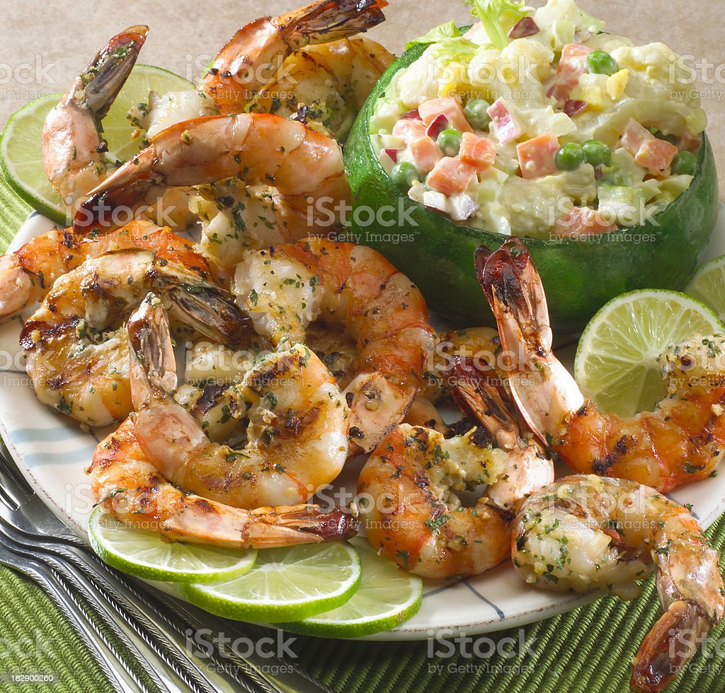 Honey Lime Grilled Shrimp royalty-free stock photo