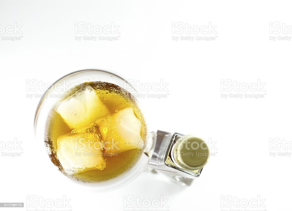 Honey liqueur from above stock photo