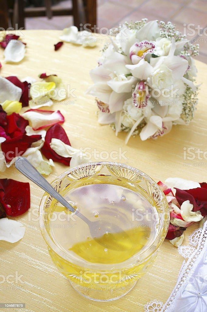 honey on wedding reception table royalty-free stock photo