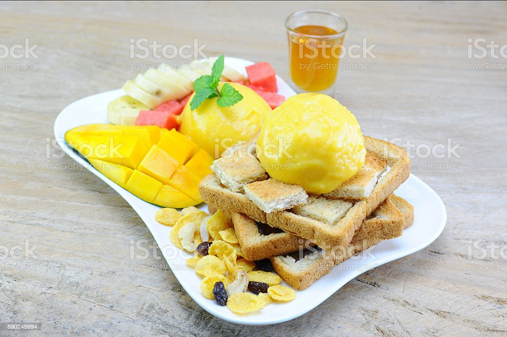 Honey Toast and Mix Fruits (Select Point Fucus) stock photo