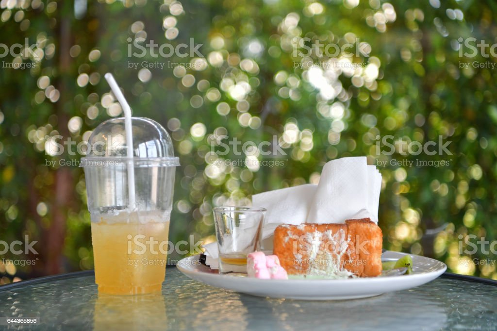 Honey Toast, crumb left over from eating, at cafe. stock photo