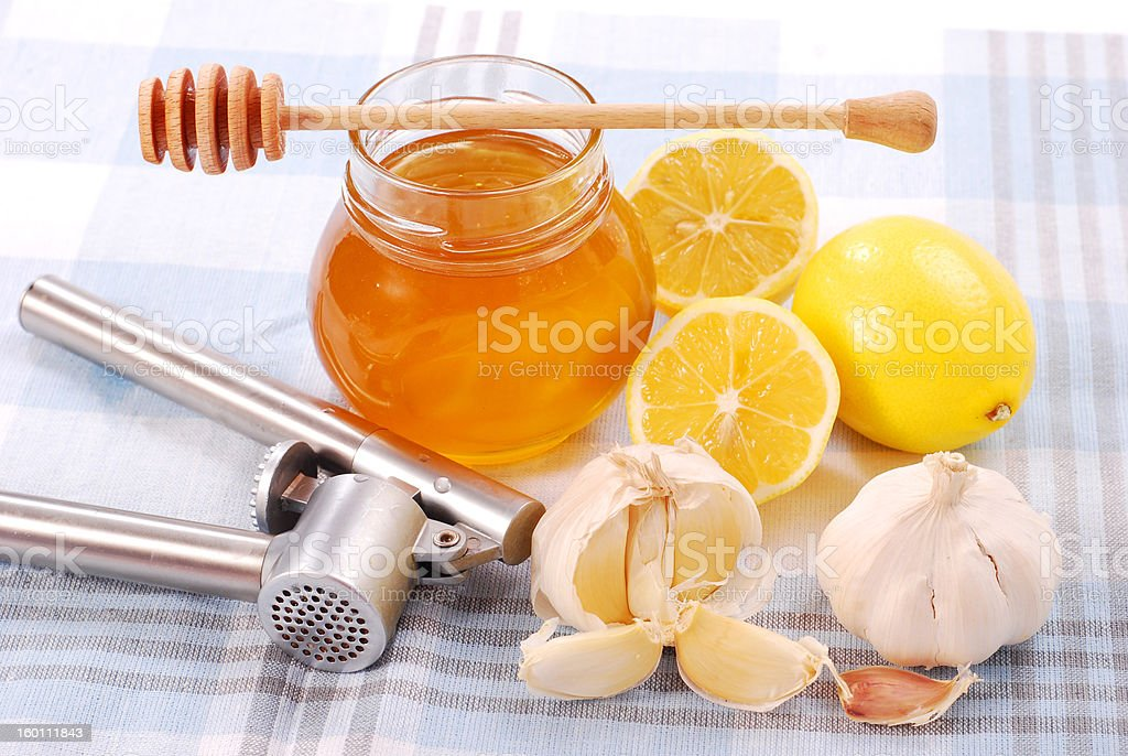 honey with garlic and lemon royalty-free stock photo