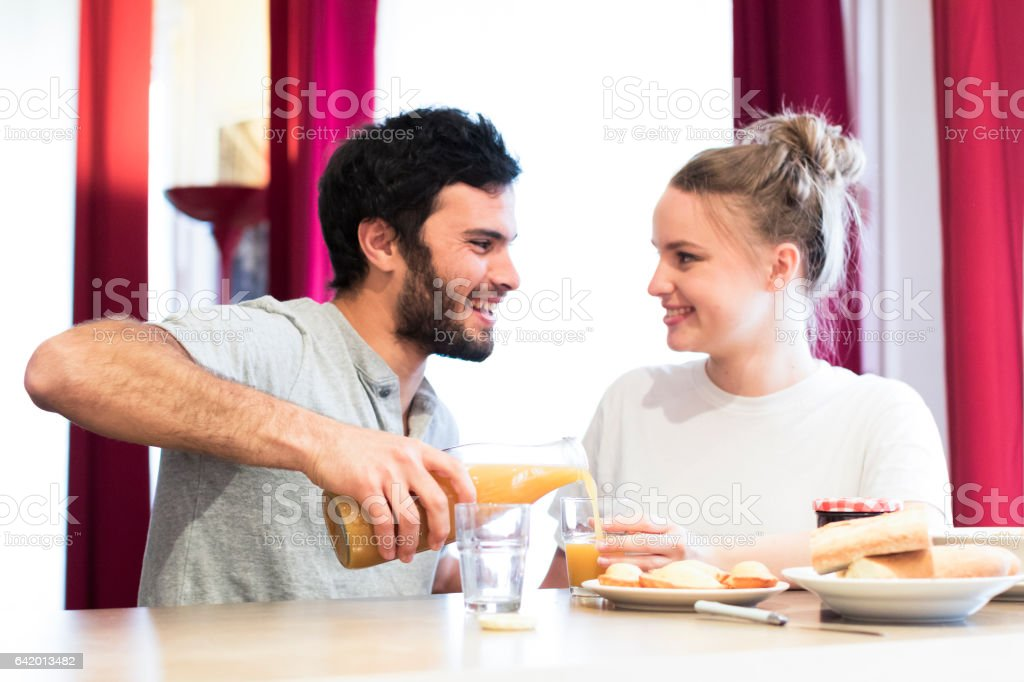 Honey, you have surprised me with such lovely breakfast preparation! stock photo