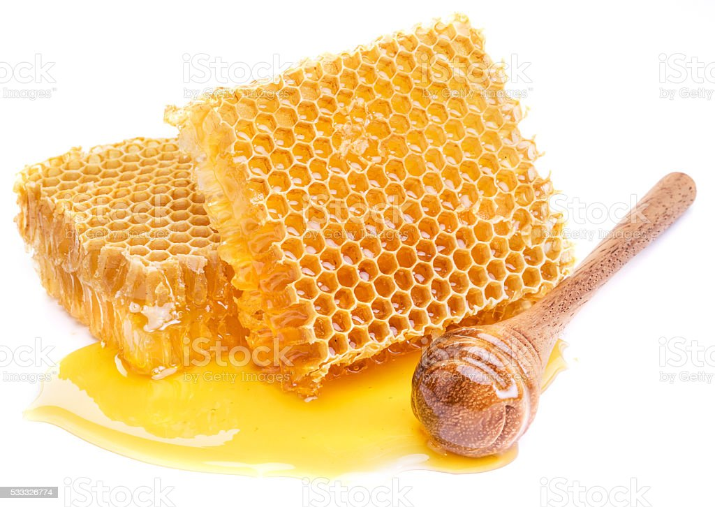 Honeycomb and honey dipper. stock photo